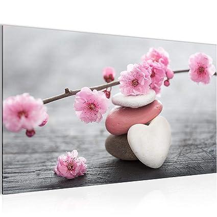 Bilder Feng Shui Blumen Wandbild 70 x 40 cm Vlies - Leinwand Bild XXL  Format Wandbilder Wohnzimmer Wohnung Deko Kunstdrucke Pink 1 Teilig - Made  IN ...