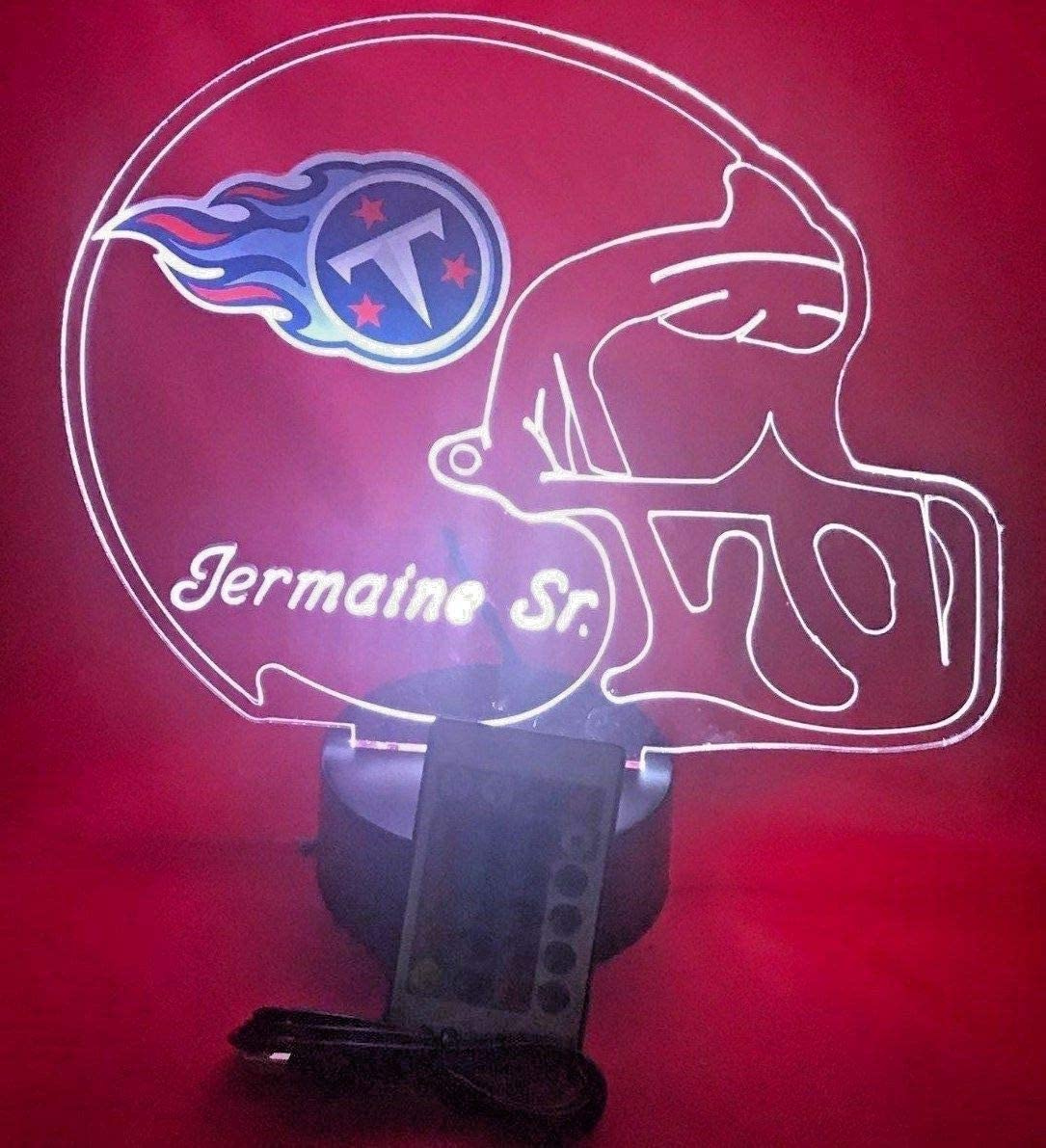 Tennessee Titans NFL Light Up Lamp LED Personalized Free Football Light Up Light Lamp LED Table Lamp, Our Newest Feature – It s Wow, with Remote, 16 Color Options, Dimmer, Free Engraved, Great Gift