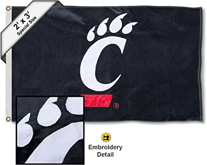 Cincinnati Bearcats Black 3x5 Flag College Flags and Banners Co