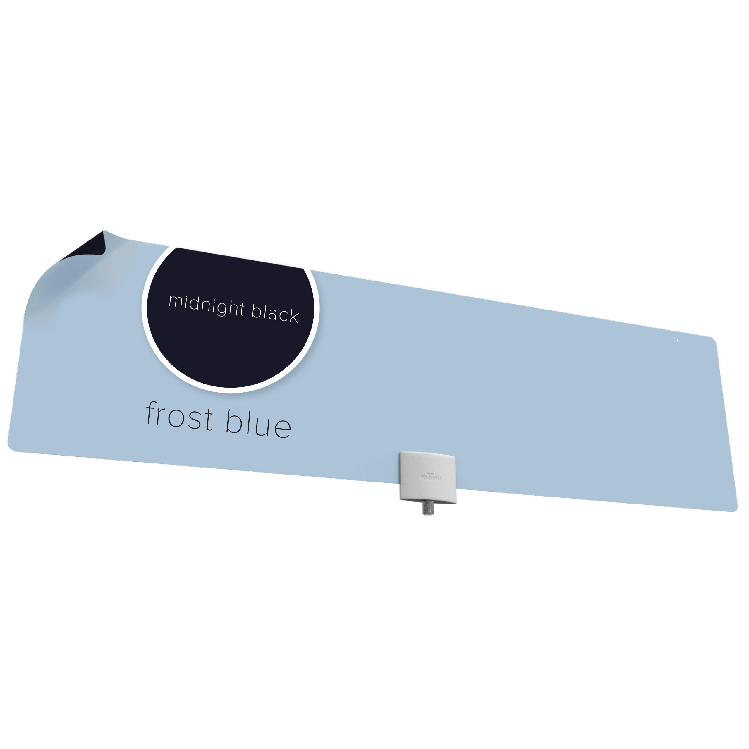 Mohu Chroma HDTV Antenna, Frost Blue/Midnight Black, Designer, Indoor, Amplified, 65-Mile Range (MH-110009)