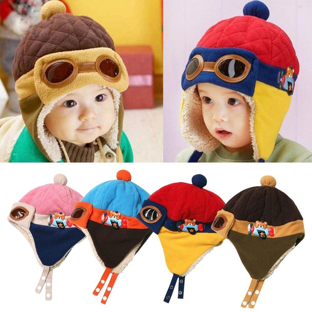 cabb515da57 Bluelans® Cool Baby Toddler Boys Girls Kids Winter Warm Cap Hat Beanie  Pilot Aviator Crochet Earflap Hats (Head Circumtance  47-52cm 18-20