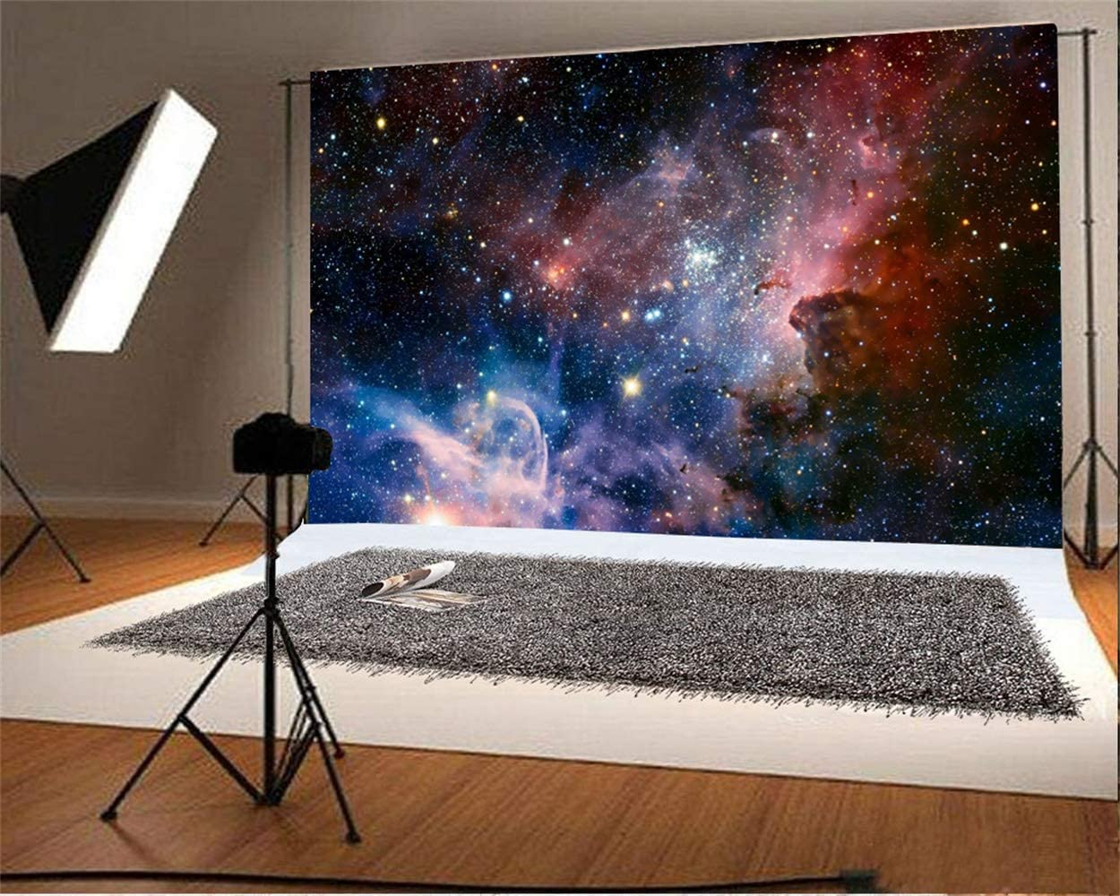 Abstract Nebula Backdrop 7x5ft Vinyl Dreamy Universe Starry Nightsky Mysterious Outer Space Neon Background Child Kids Adult Astronaut Portrait Shoot Birthday Banner Wallpaper Studio