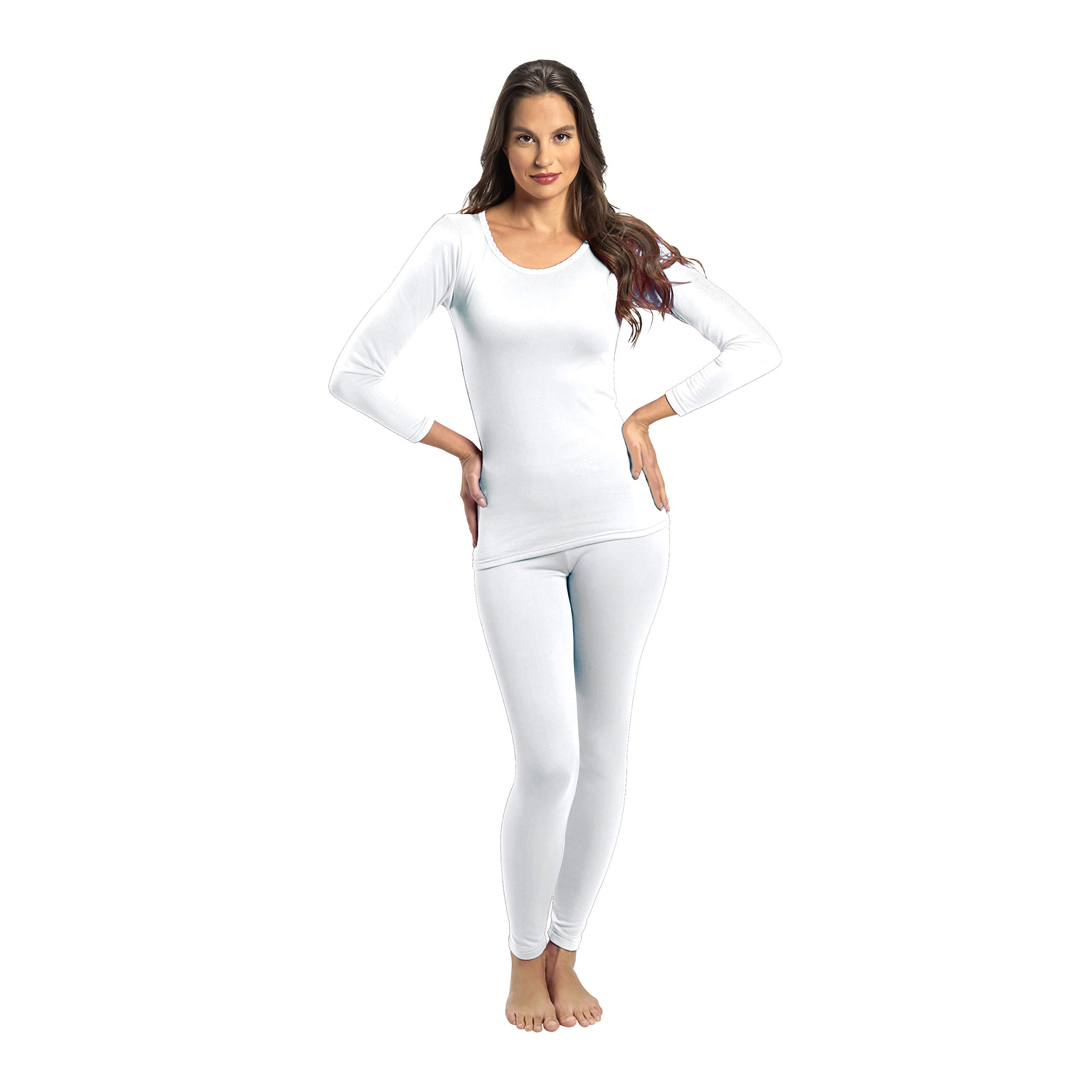 Rocky Thermal Underwear for Women Fleece Lined Thermals Women's Base Layer Long John Set White by Rocky