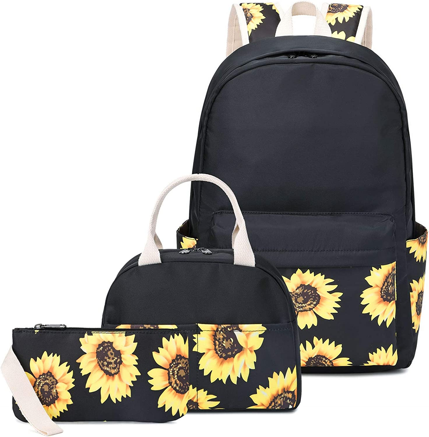 """Sunflower Canvas Backpack Set for College Girls Women with USB Charging Port, 14"""" Laptop Backpack Casual Daypack School Bookbag"""