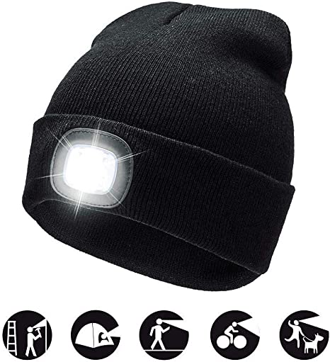 Women Men Outdoor Sports Winter Warm Knitted Beanie Cap Hat With 4LED Light UK