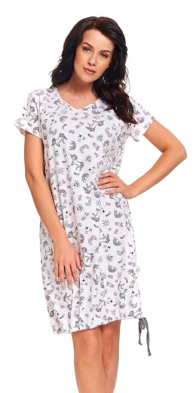 dn-nightwear Damen Umstandsnachthemd/Stillnachthemd MIRA aus 100% Baumwolle