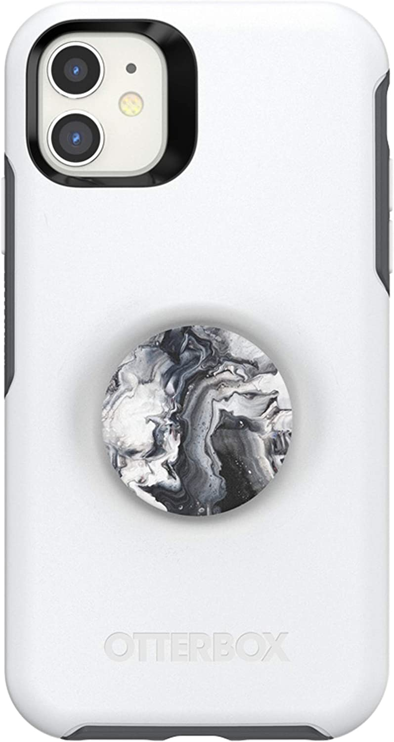 Otter + Pop for iPhone 11: OtterBox Symmetry Series Case with PopSockets Swappable PopTop - Polar Vortex and Ghost Marble