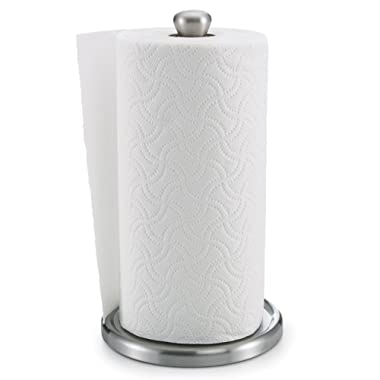 Polder Single Tear Paper Towel Holder – Sturdy, One-Handed Tear, Fits Standard or Jumbo-Sized Rolls - Brushed Stainless Steel