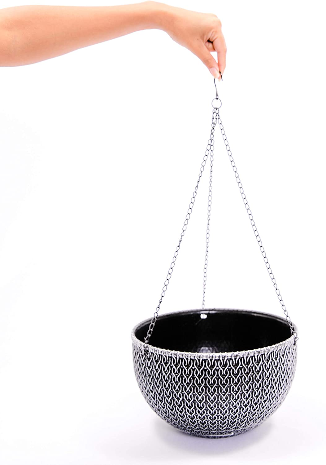 Rustic Hanging/Base Combo Planter Antique Look Plastic Flowerpot Nursery for Indoor, Outdoor, Garden Patio Office Ornaments Home Decor Use Long Lasting Reusable Light Weight (Silver-L)