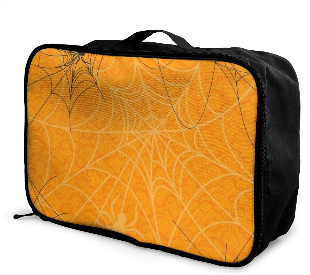 Yunshm Happy Halloween Orange Spider Web Personalized Trolley Handbag Waterproof Unisex Large Capacity For Business Travel Storage