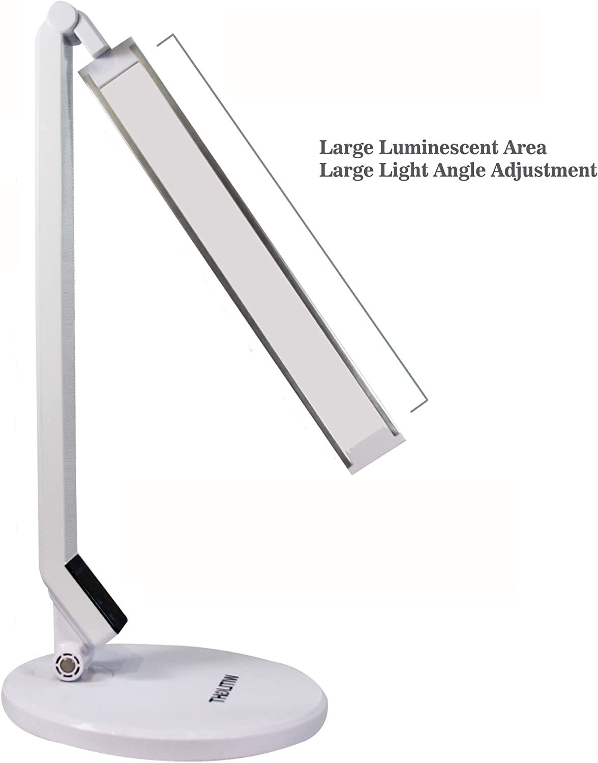 WITLIGHT LED Dimmable Desk Lamp, 5 Dimming Levels with Touch Sensitive, Eye-Caring Tech, 5500-6500K, Daylight White Table Light, Folding Rotating, Memory Function, White with Silver Head