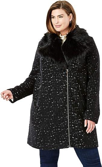 Jessica London Womens Plus Size Full Length Wool Blend Coat