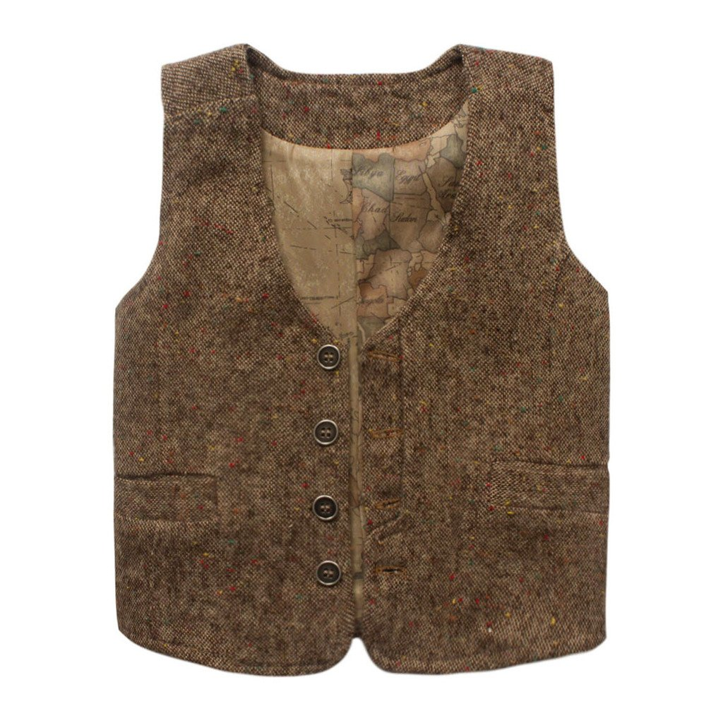 Coodebear Boys' Girls' Map Lined Pockets Buttons V Collar Vests eTree