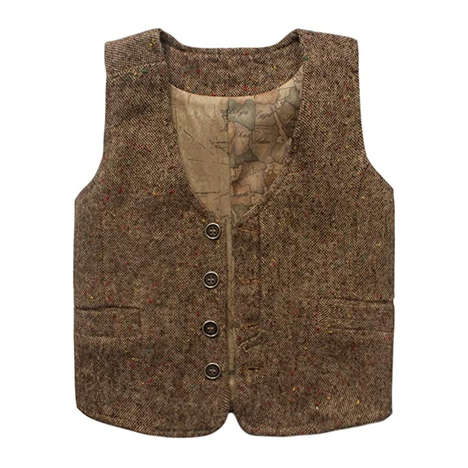 Vintage Style Children's Clothing: Girls, Boys, Baby, Toddler Coodebear Boys Girls Map Lined Pockets Buttons V Collar Vests (2-16 Years) $16.48 AT vintagedancer.com
