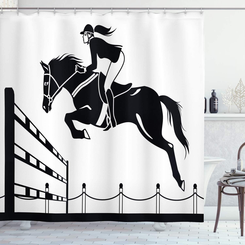 Cortina de ducha de dibujos animados de 72x72 pulgadas, caballo de carreras con una chica jockey saltando por encima de la agricultura de granero de barrera, juego de de baño con ganchos, blanco gris