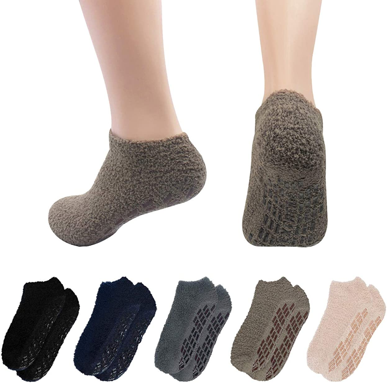 Morestep Mens 5 Pairs Warm Fuzzy Non Slip Hospital Home Ankle Slipper Socks At Amazon Men S Clothing Store