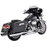 Vance & Hines 16763 Twin Slash 4 Rounds Chrome Slip On Mufflers For Harley-Davidson Touring 1995-2016 Bikes