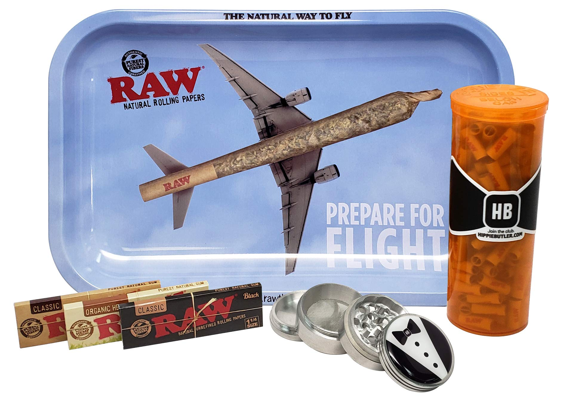 RAW Rolling Tray Small (Prepare for Flight) with RAW 1 1/4 Rolling Papers (Pack Each Classic, Organic and Black), 189 RAW Pre Rolled Tips, Hippie Butler 42mm Grinder and Pop Top Container