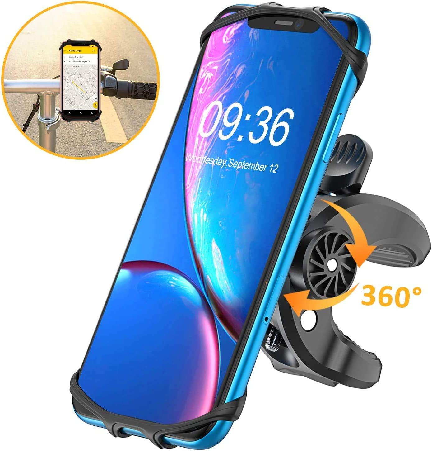 Galaxy S20//S10//S10e TEUMI 360/° Rotatable Bicycle Phone Holder Motorcycle Phone Mounts for iPhone 11//XR//8 Plus//SE Bike Phone Mount