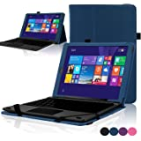 """ACdream RCA Cambio W101 Case, Protective Premium PU Leather Cover Case for RCA 10.1"""" 2in1 Tablet 32GB Quad Core Windows 8.1 / 10.1 Tablet Model W101 (2015 Version), Dark Blue"""