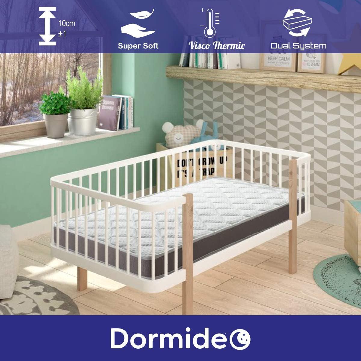 DORMIDEO Colchón Cuna viscoelástico BabyBed - Dos Caras higiénico, Transpirable y Antideslizante