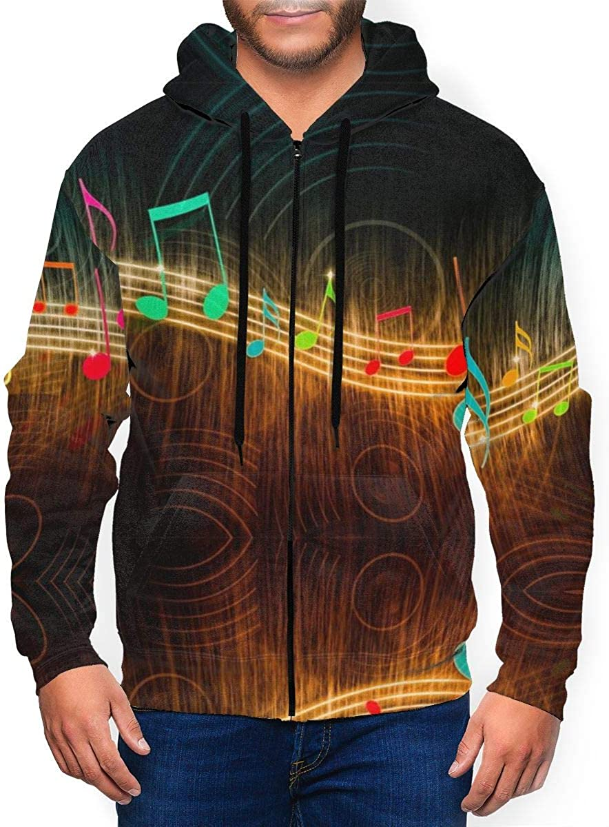 CCdesign Men All Over Fantasy Music Print Zip Up Sweaters with Kangaroo Pocket
