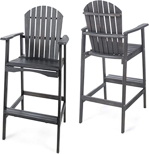 Christopher Knight Home Malibu Outdoor Acacia Wood Adirondack Barstools, 2-Pcs Set, Dark Grey