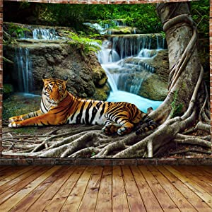 """Tiger Tapestry Animal Wall Hanging Tropical Rainforest Waterfall Landscape Wall Tapestry Boho Decor,for Living Room Dorm Bedroom Home(59"""" x 78.7"""")"""