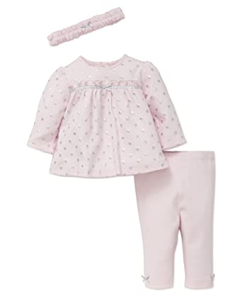 746dcbcb8c61a Amazon.com: Little Me Baby Girls' 3 Piece Tunic and Legging Set with  Headband: Clothing