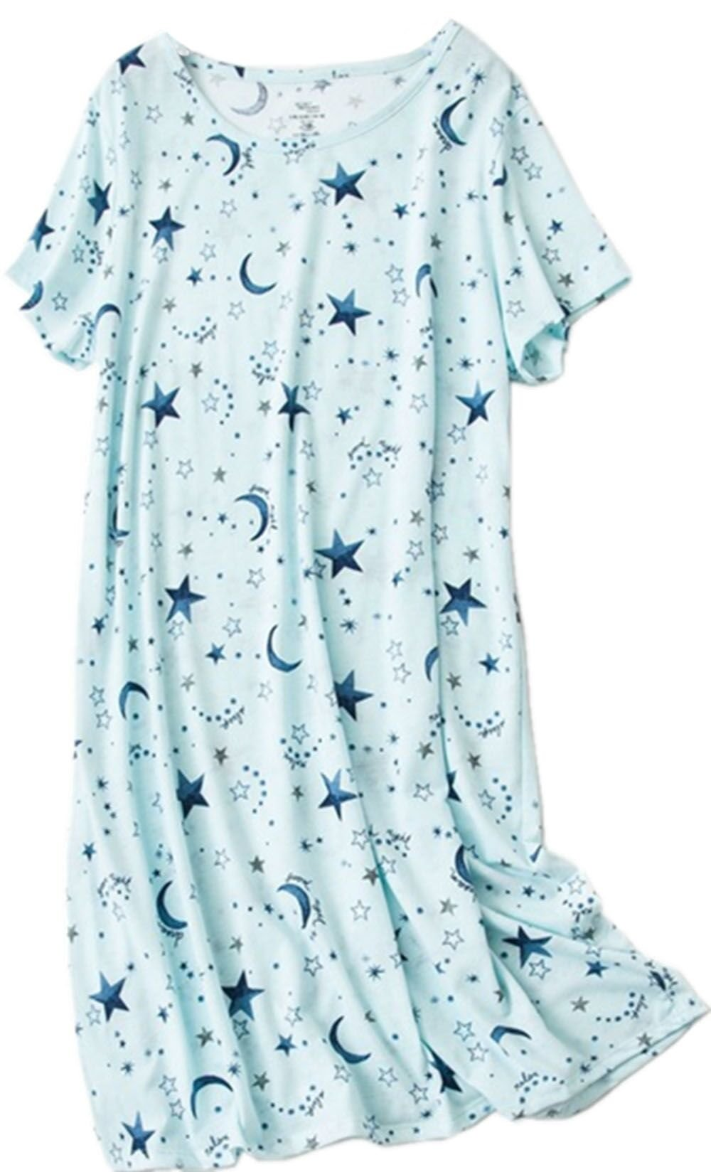 Amoy-Baby Women's Cotton Blend Green Floral Nightgown Casual Nights XTSY001-Blue Star-L