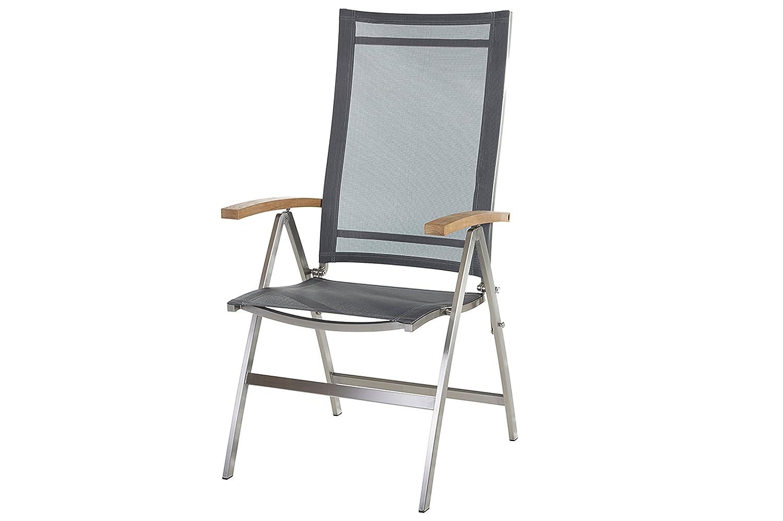 DIAMOND GARDEN Venedig Multipositionssessel Gartenstuhl in edlem schwarz silber, aus solidem Edelstahl und Sitzfläche aus hochwertigem Textil, 65 x 59 x 114 cm, Teak-Armlehnen, klappbar, wetterfest