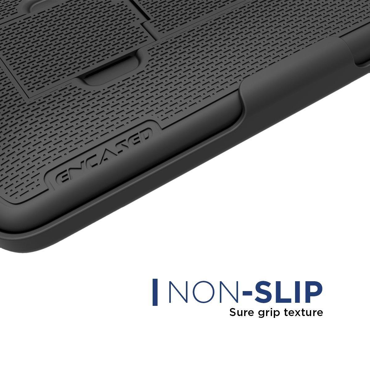 Samsung Galaxy Note 8 Belt Holster, Encased Thin Fit [DuraClip Series] Slim Grip Case & Belt Clip (Smooth Black) by Encased (Image #6)
