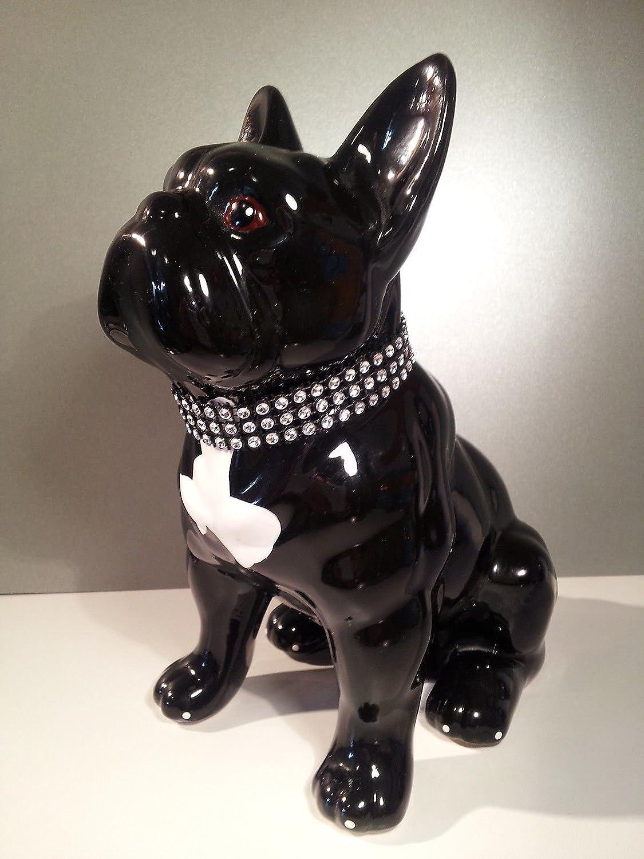 Statua di Bulldog francese ceramica decorazione Laure Terrier. Altezza 22 centimetri. modello Ghost