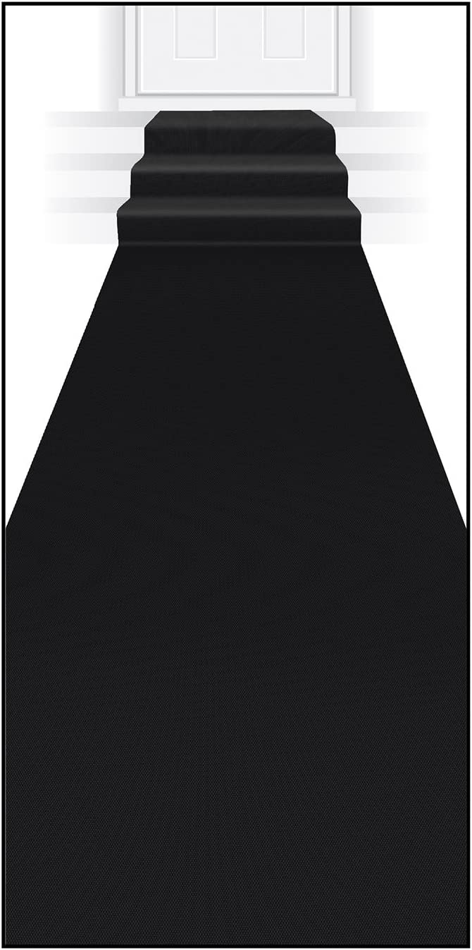 Beistle Black Novelty Polyester Fabric Aisle Runner For Weddings, Awards Night Theme, Proms, Ceremony Parties and Events