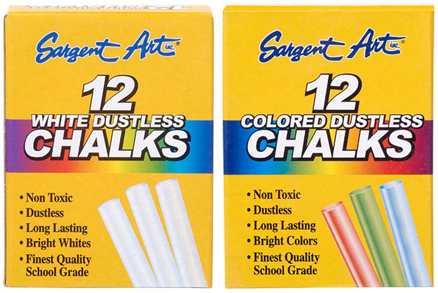 Sargent Art Dustless Chalk Bundle - 1 White 12-Pack + 1 Colored 12-Pack
