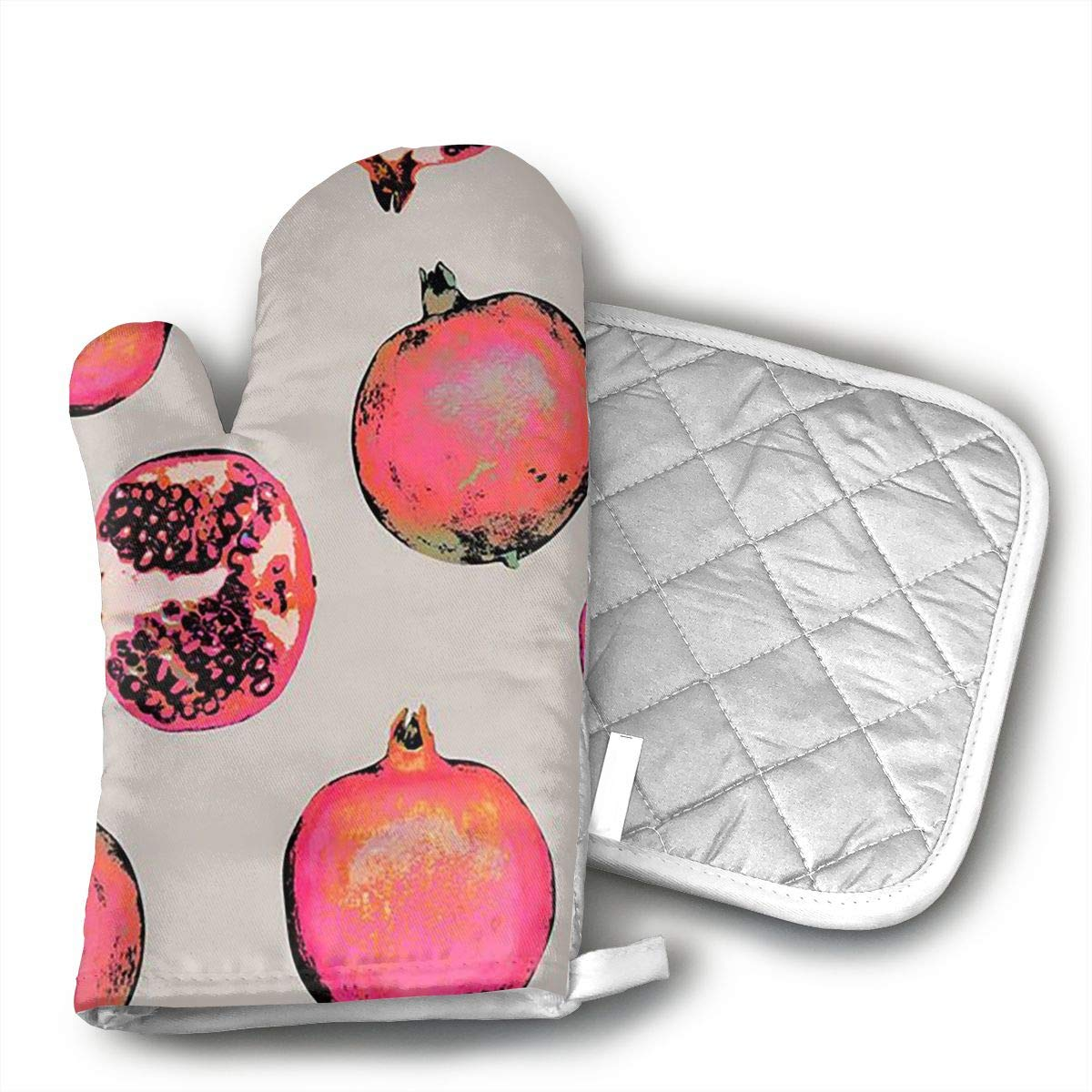 not Pomegranate Watercolor Oven Gloves, Smart Home, Long, Mittens, Heat Resistant, Extra Thick, Quilted