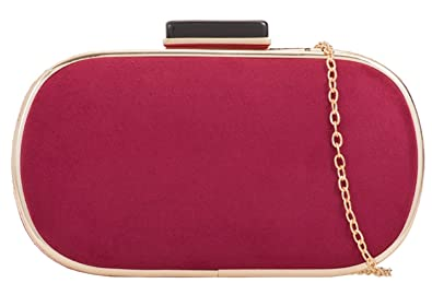 6e5fbeba08b Girly HandBags Plain Hard Case Clutch Bag - Burgundy: Amazon.co.uk ...