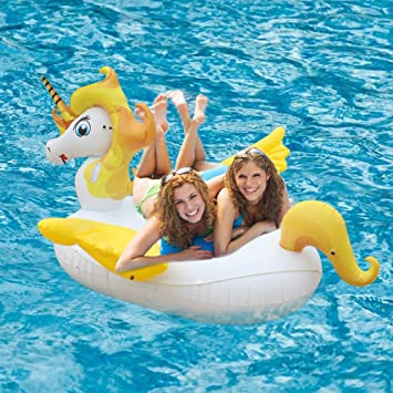 Giant Unicorn Inflatable, Pool Float With Rapid Valves,Ride On Swan Toy 87