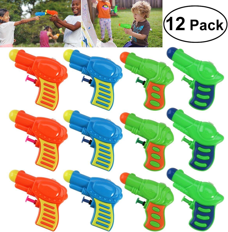 Toyvian 12pcs Pequeña Pistola de Agua,Juguete de Agua de plástico para niños Juego de riego (Color Aleatorio)