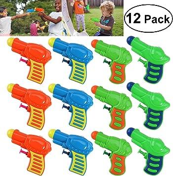 TOYMYTOY 12pcs Pistolas de agua plástico para niños juego (Color al azar): Amazon.es: Juguetes y juegos