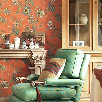 Kitchen,20.8 In32.8 Ft=57 Sq.ft Red Blooming Wall Vintage Countryside Flower Floral Wallpaper Wall Mural For Livingroom,Bedroom S05 Green//Red