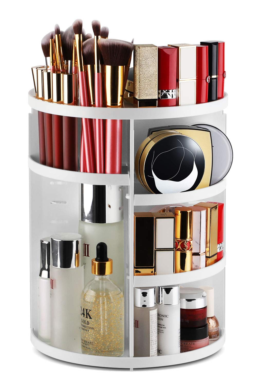 Syntus 360 Rotating Makeup Organizer, DIY Adjustable Bathroom Makeup Carousel Spinning Holder Rack, Large Capacity Cosmetics Storage Box Vanity Shelf Countertop, Fits Makeup Brushes, Lipsticks, White