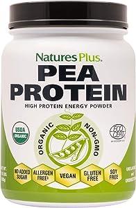NaturesPlus Organic Pea Protein - 1.1 lbs, Vegan Drink Powder - High Energy Protein Powder, Hunger Suppressant, Muscle Builder, Promotes Heart Health - Non-GMO, Vegetarian, Gluten-Free - 25 Servings