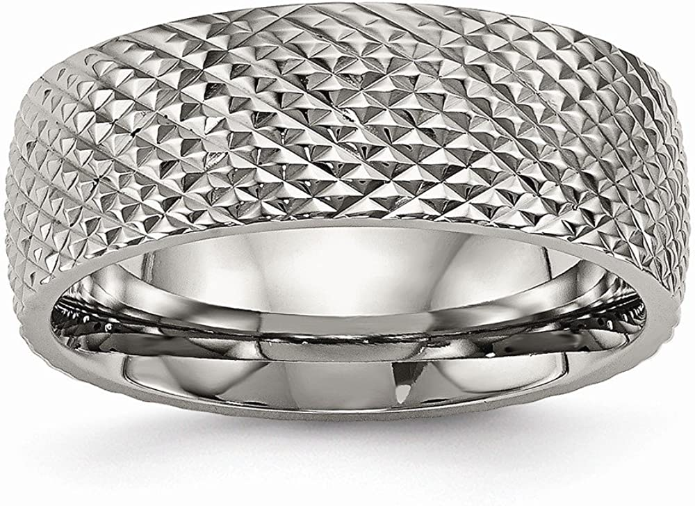 Bridal Wedding Bands Decorative Bands Titanium Polished Textured Ring Size 7