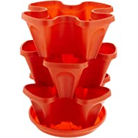 Mr. Stacky Self Watering 3 Tier Stackable Garden Vertical Plastic Planter Set