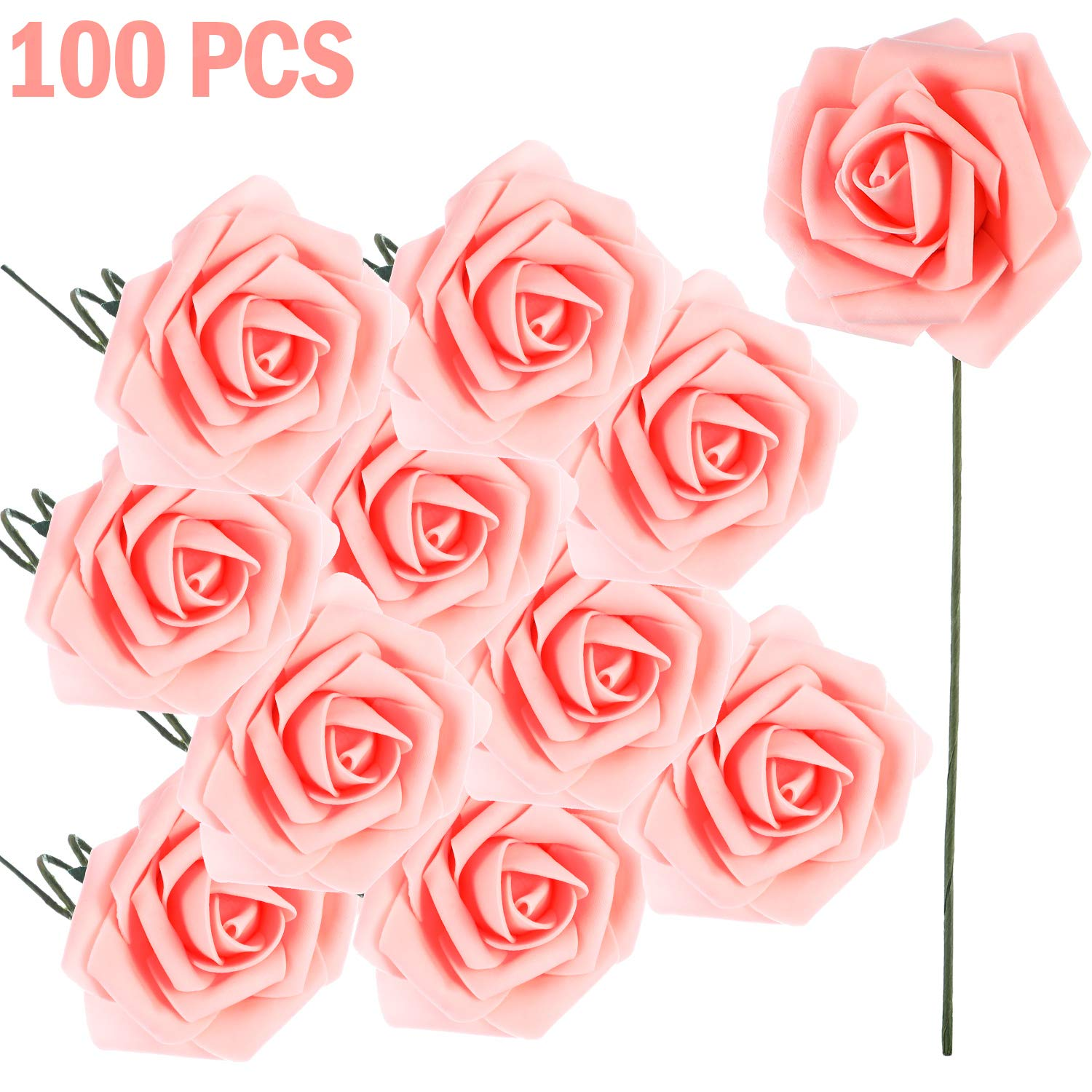 Poen-100-Pieces-Artificial-Flowers-Blush-Roses-Foam-Rose-with-Stem-for-DIY-Wedding-Bouquets-Centerpieces-Party-Baby-Shower-Home-Decorations