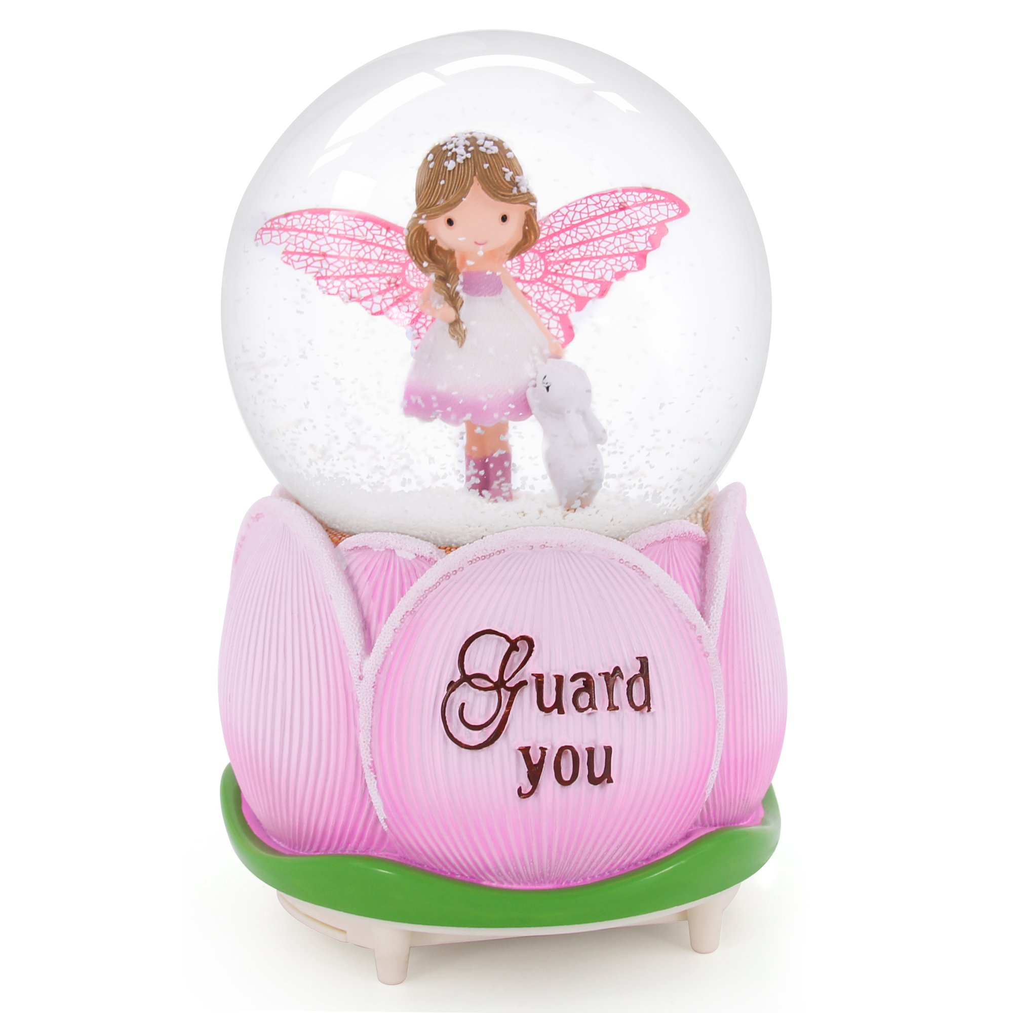 QTMY Musical Snow Globes Ornament Angel Girl Music Boxes with Led Light Crystal Ball for Kids Girls