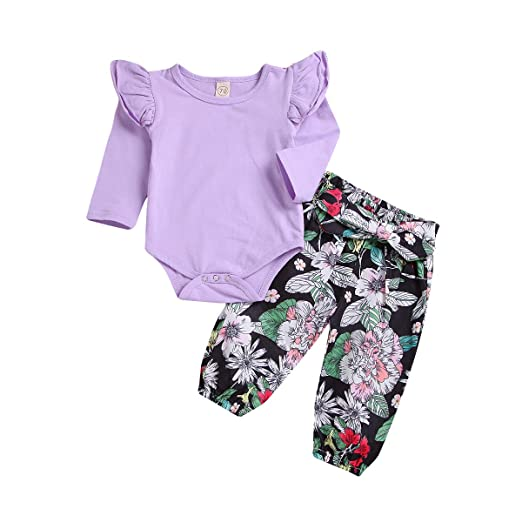 08ac80216 Amazon.com  Baby Girls Long Sleeve Ruffle Layered Shoulder Romper ...