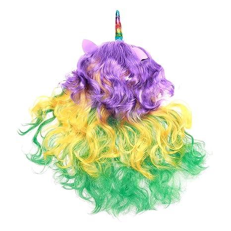Peluca de pelo largo rizado de unicornio de Frcolor Arcoíris para disfraz, fiesta de Halloween