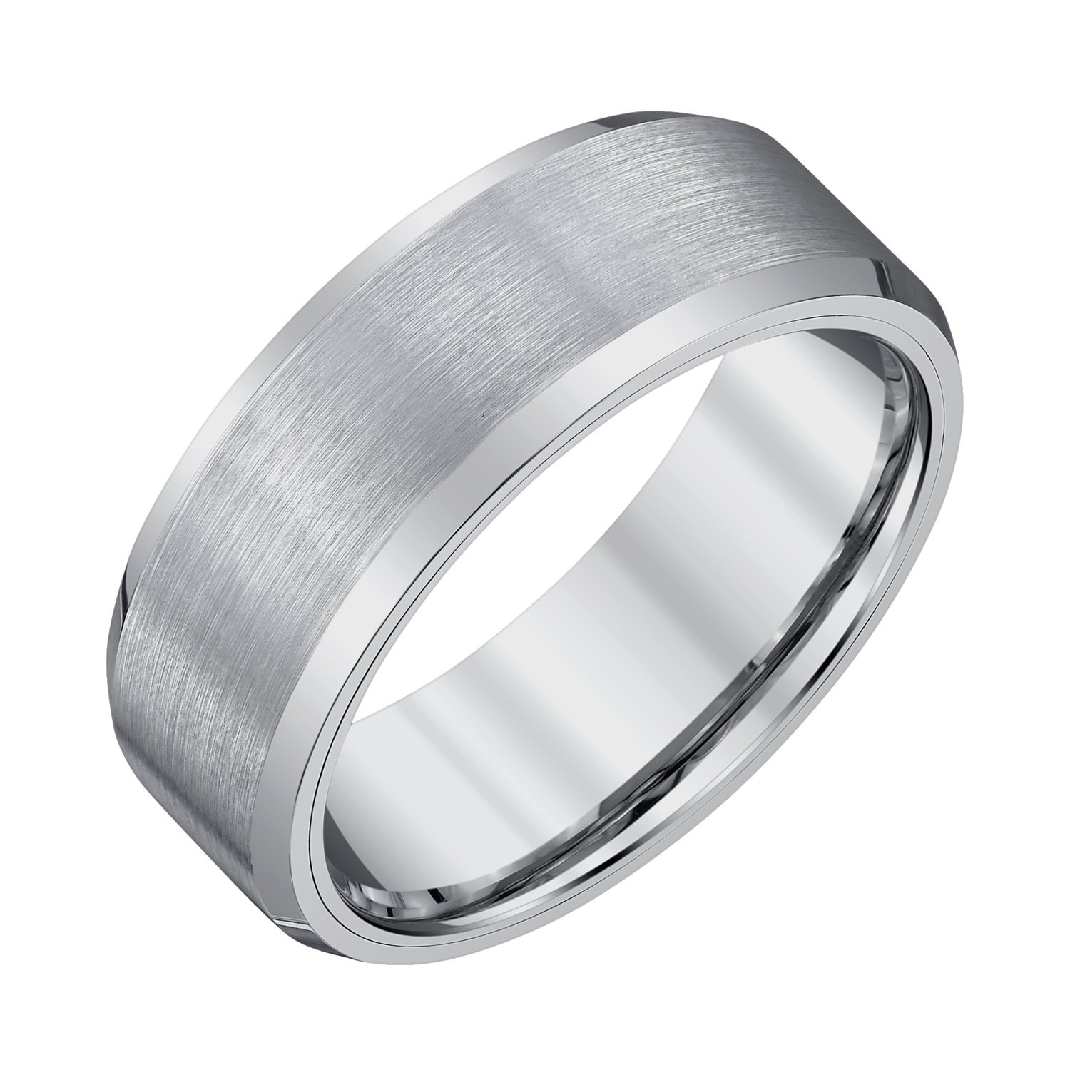 AX Jewelry Mens 8mm Tungsten Band Satin Finish